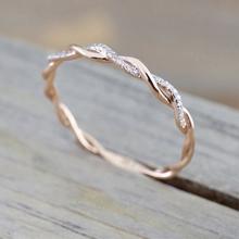 DoreenBeads 2018 New Trendy Twist Ring Gold / Rose Gold Color Women Jewelry Wedding Ring Rhinestone Fashion Wholesale 1 Piece