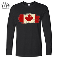 HanHent Canada Flag Canadian Leaf Men Long Sleeve O Neck Loose T Shirt Sport Tshirt TA0570
