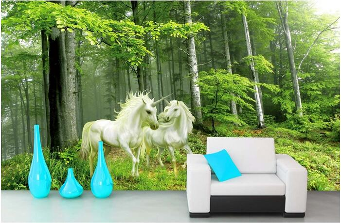3d wallpaper custom mural non-woven 3d room wallpaper Forest guardian unicorn Backdrop painting photo 3d wall murals wallpaper custom baby wallpaper snow white and the seven dwarfs bedroom for the children s room mural backdrop stereoscopic 3d