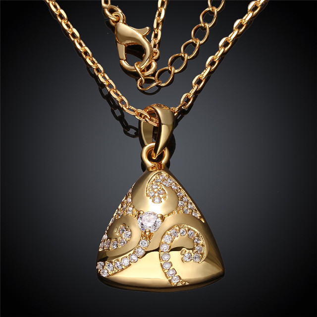 24k yellow gold rose gold color pendant necklace triangle 24k yellow gold rose gold color pendant necklace triangle shaped with geometric designs cz mozeypictures Choice Image