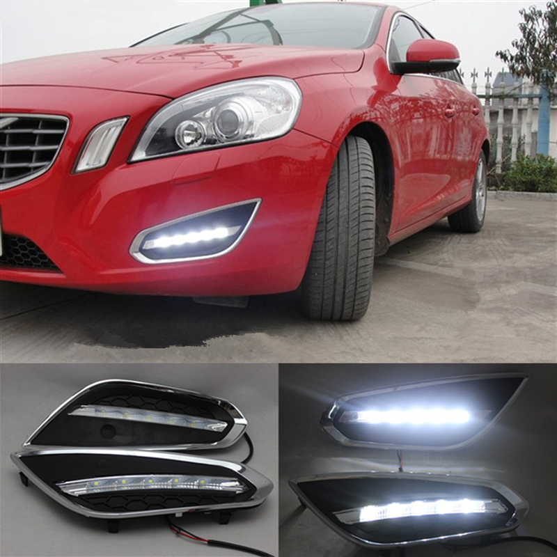 1 Set LED Daytime Running Light With Auto Light Off Function Waterproof ABS Cover LED DRL Lamp For Volvo S60 V60 2011 2012 2013