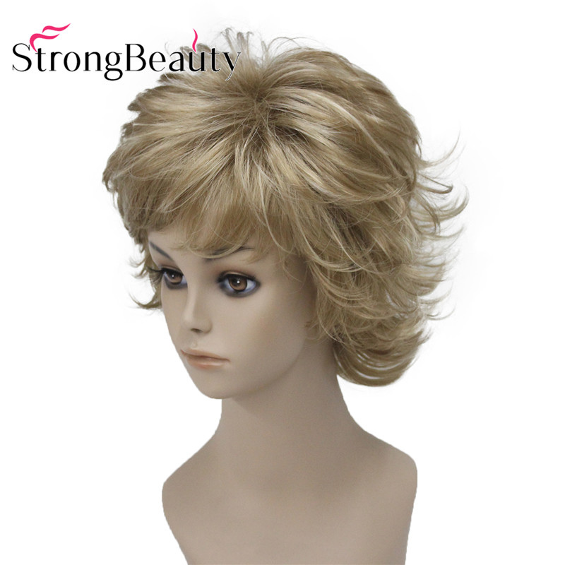 StrongBeauty Short Synthetic Wigs Blonde Natural Wavy Fluffy Layered Cut Wigs With Bangs