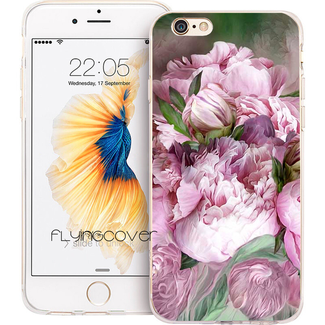 meet 1c654 0ef53 US $4.98 |Coque Flower Peony Drawing Clear Soft Silicone Phone Cases for  iPhone XS Max XR X 7 8 6 6S Plus 5S 5 SE 5C 4S 4 iPod Touch 6 5.-in Fitted  ...