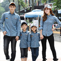 Ropa Vaquera Chaqueta de juego de La Familia 2016 de la Familia de Primavera Juego Mirada Jeans-shirt Padre Madre Hija Hijo Camisas de Mezclilla
