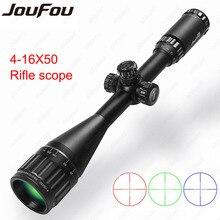 JouFou 4-16X50 AOE Tactique Viseur Optique RGB Illuminatied Fil Réticule Fusil Portée Pleine Taille Chasse de Tir avec Anneaux