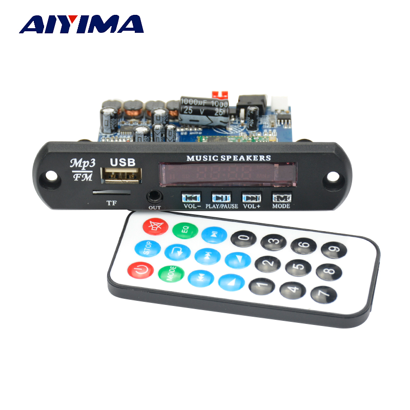 Aiyima 12V Bluetooth 4.0 APE FLAC WAV WMA MP3 Audio Decoder Board Stereo Receiver 10W+10W Dgital Amplifiers APP Control aiyima lcd lossless bluetooth decoder dts flac ape ac3 wav mp3 decoder board decode