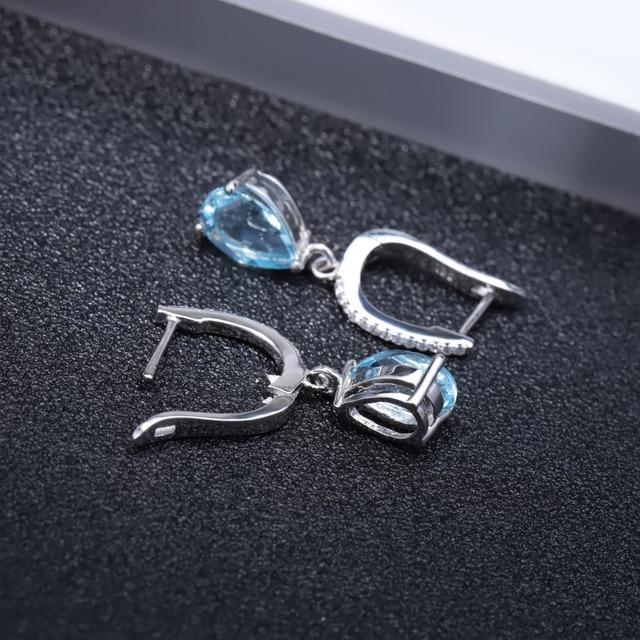Gem's Ballet Natural Sky Blue Topaz Earrings Genuine 925 Sterling Silver Fine Jewelry 7x10mm Drop Earring For Women Fashion