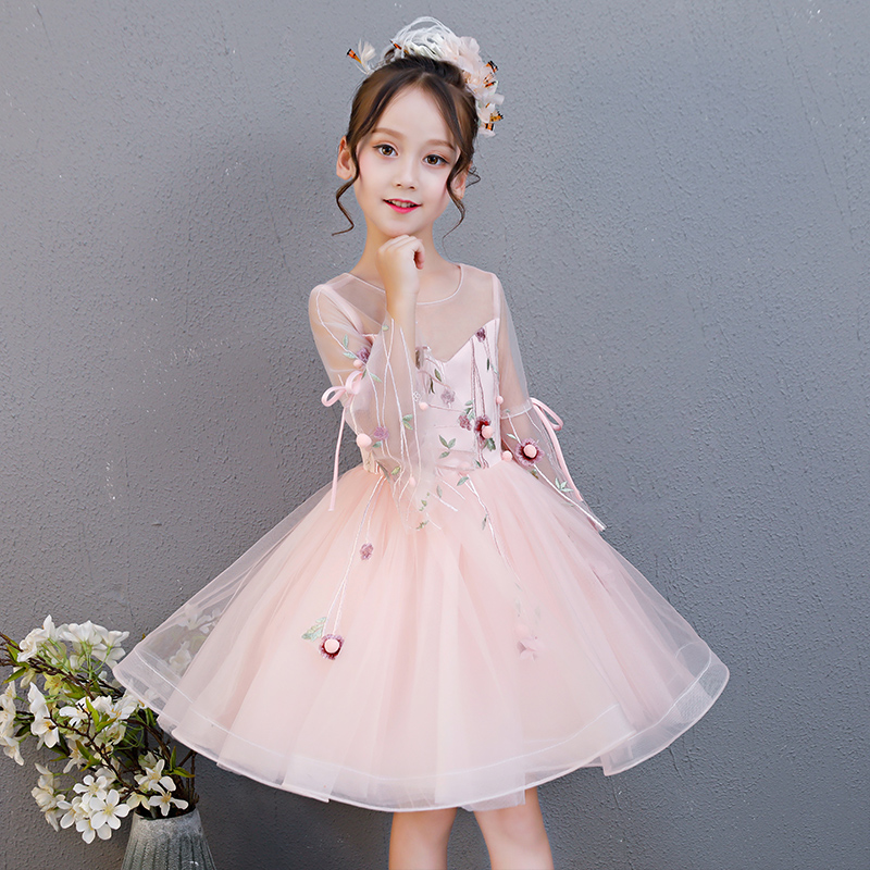 2018 Summer New Kids Baby Pink Color Birthday Wedding Party Ball Gown Dress Children Toddler Tutu Host Piano Costume Dress Wear мяч футбольный nike pitch pl р 5 sc3137 620