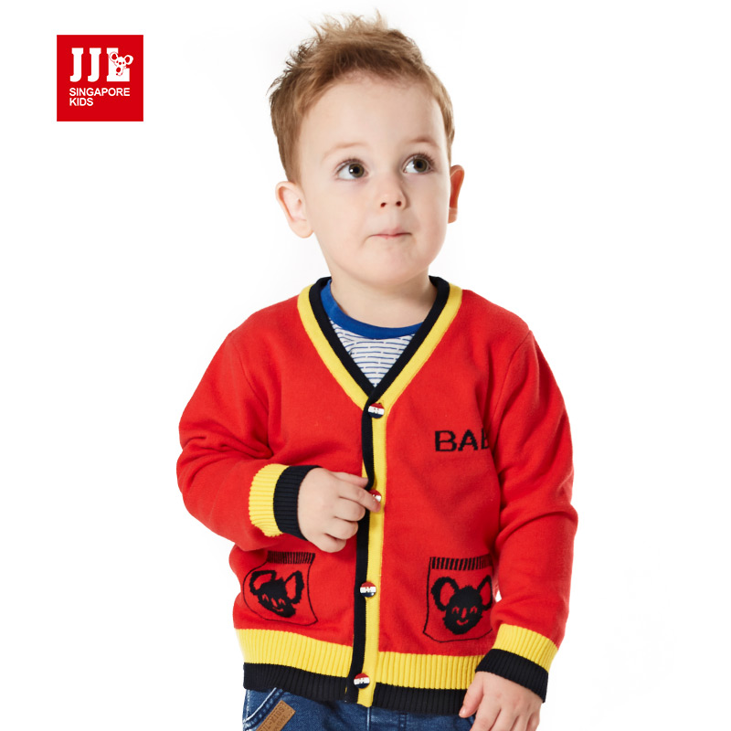 2015 new autumn and winter children clothing baby boys knitted v neck long sleeve cardigan sweater