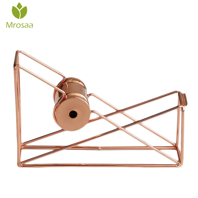 Mrosaa rose gold Masking Tape Cutter Washi Tape Storage Organizer Cutter Stationery Office Tape Dispenser Office Supplies rose gold desktop tape dispenser wire metal tape holder for 1 inch core brighten up your office desk top accessories supplies