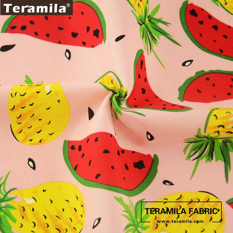 Teramila 코 튼 포플린 패브릭 고품질 인쇄 과일 스타일 라이트 핑크 패치 워크 바느질 diy 드레스 셔츠 공예 인형의 천