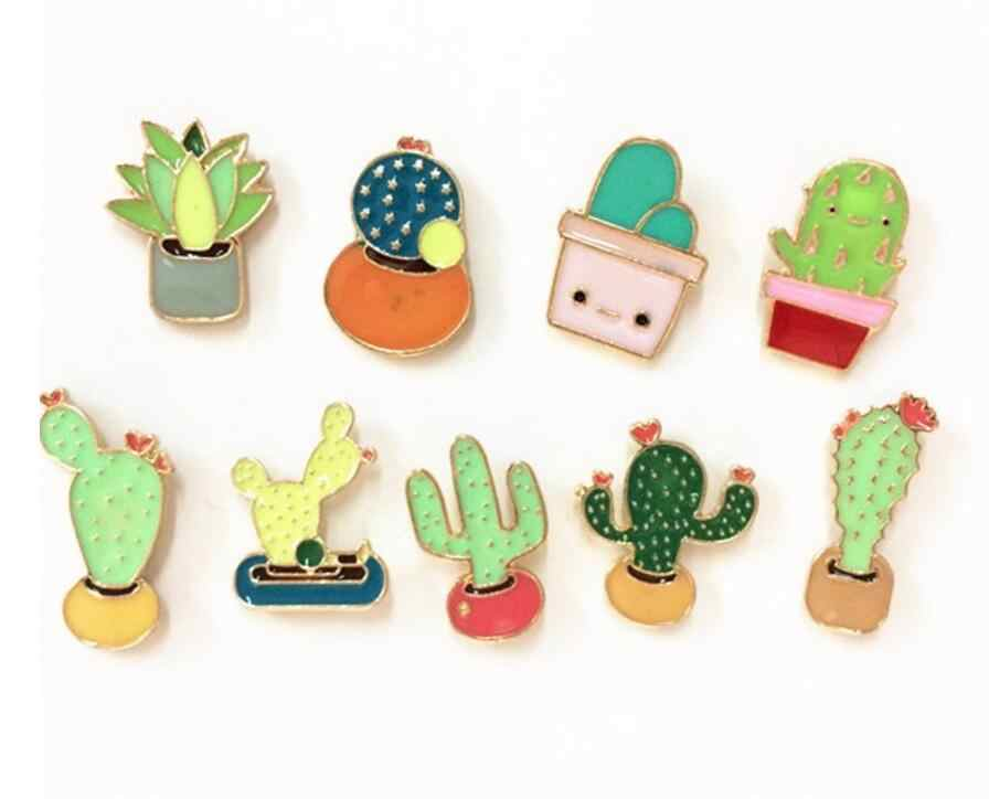 Timlee X188 New Oil Drop Cute Cactus Pots  Beautiful Metal Brooch Pins Button Pins Girl Jeans Bag Decoration Gift