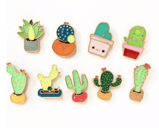 Timlee X188 New Oil Drop Cute Cactus Pots Beautiful Metal Brooch