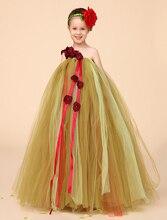 Оливково-зеленый Бальное платье Тюль маленькие Девочки Платья дети маленькие девочки вечернее платье повседневная ТУТУ платья [головной убор не входит]