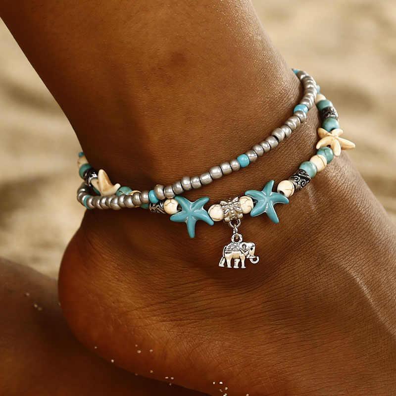 Богемный в этническом стиле Антик 2 Слои браслет на щиколотку; Симпатичные Морская звезда фут цепи для Для женщин Летний пляж ювелирные изделия Tornozeleira