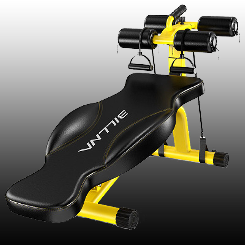 Yellow New Fitness Machines For Home Sit Up Abdominal Bench fitness Board abdominal Exerciser Equipments Gym Training muscles ancheer foldable adjustable sit up abdominal bench ab exercise bench multifunction supine dumbbell bench fitness chair