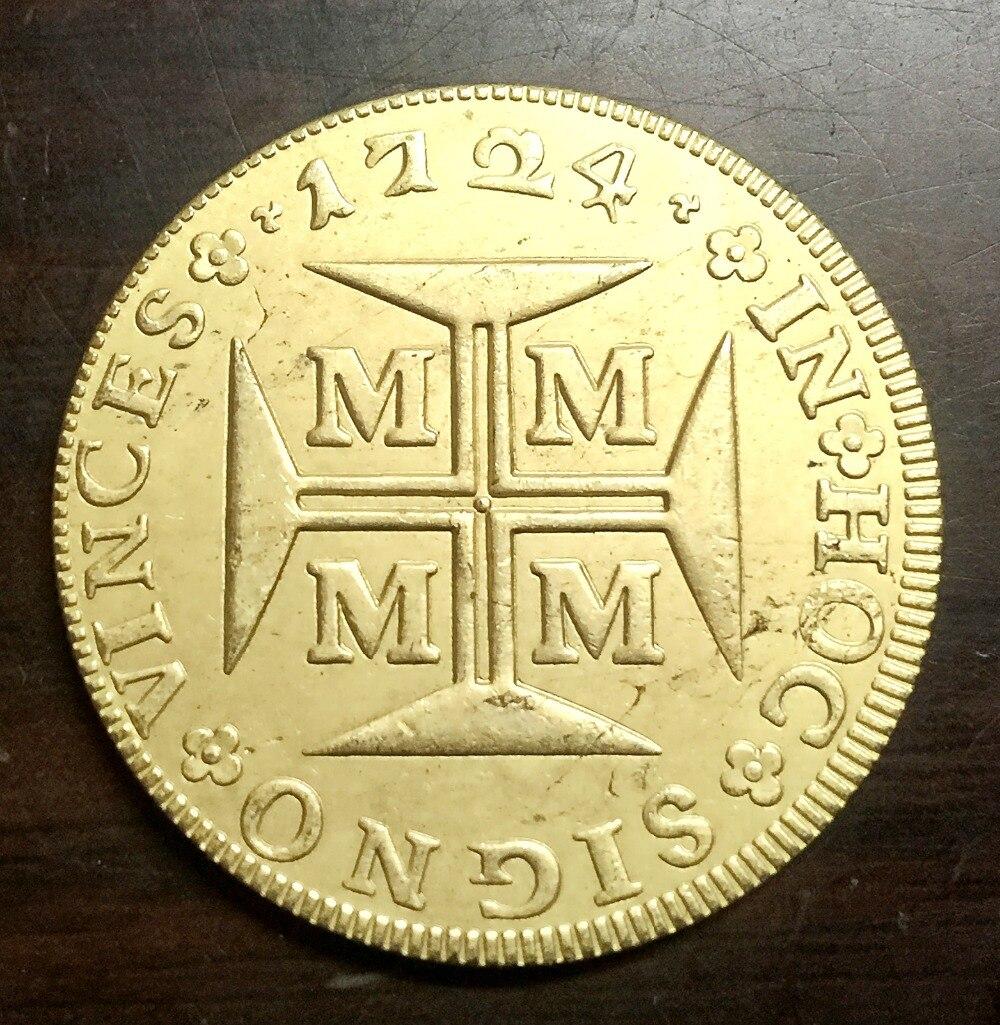1724 Бразилия 10000 Reis-Жоао V 22 К позолоченный Копировать монет