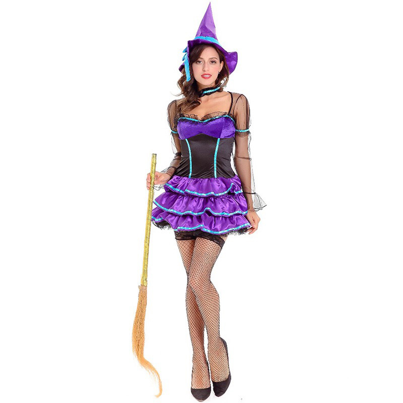 Adult Women Halloween Fancy Witch Costume Ladies Cute -2365