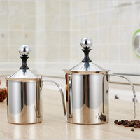 500ML 800ML Stainless Steel Double Mesh Milk Frother Cappuccino Coffee Milk Creamer Foamer Double Mesh Froth Screen