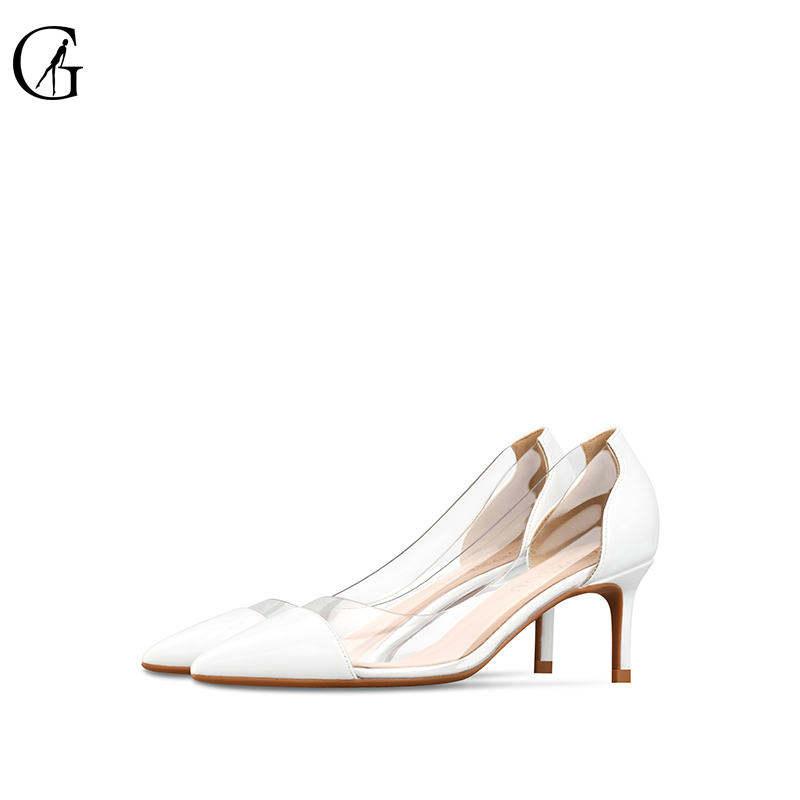 GOXEOU Women Pumps 2019 Transparent black High Heels Sexy Pointed Toe Slip on Wedding Party Shoes
