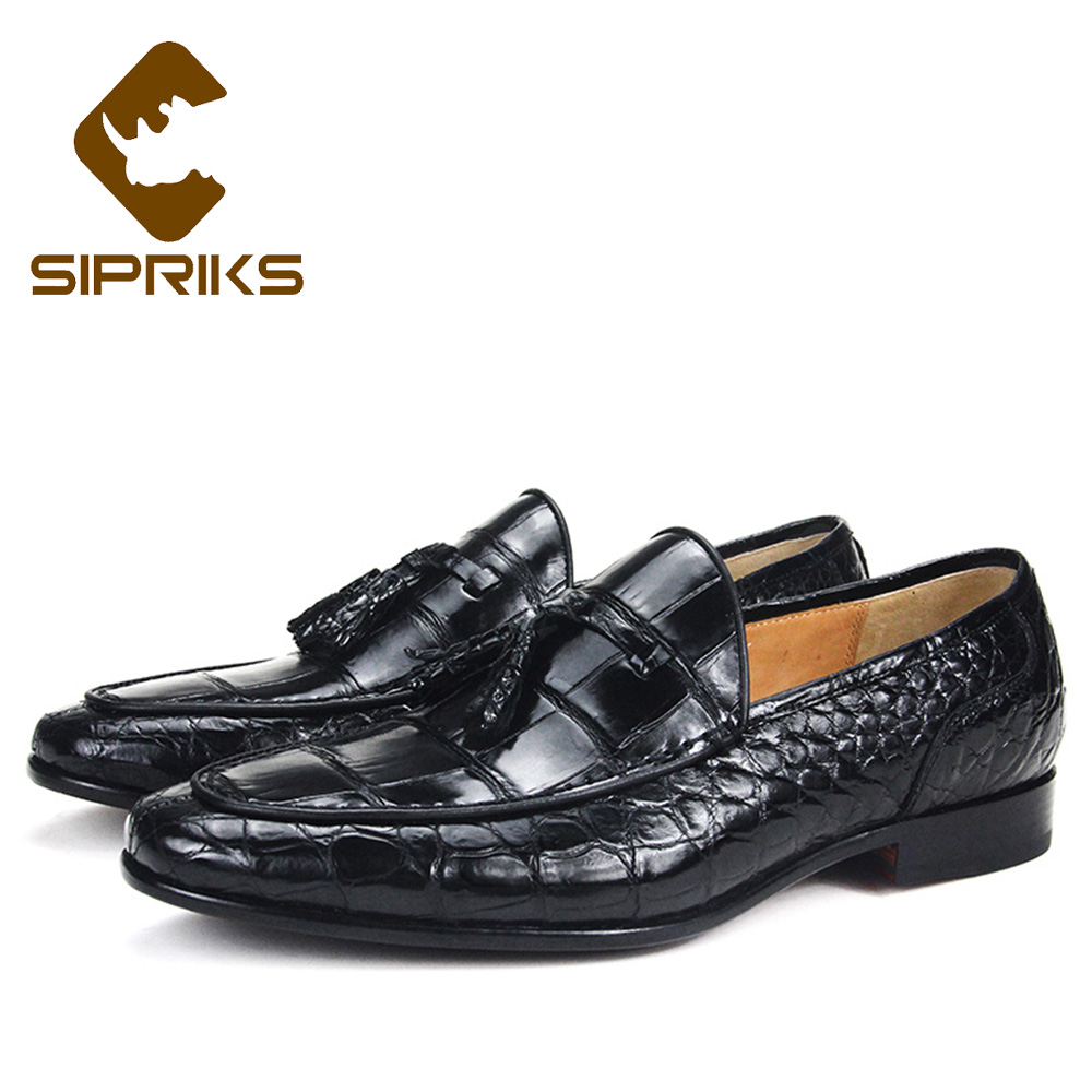 Orderly Sipriks Mens Crocodile Leather Shoes With Tassels Goodyear Welted Dress Shoes Boss Business Slip On Formal Loafers Sewing Sole We Have Won Praise From Customers Men's Shoes Formal Shoes