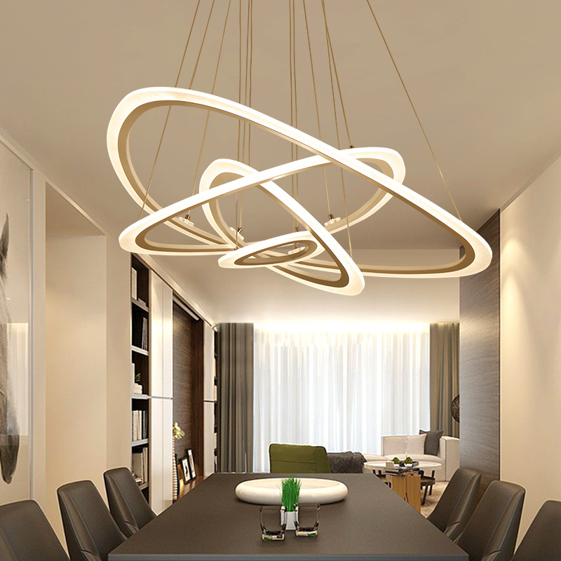 Living Room Lamps Postmodern Chandelier Modern Simple Circular Led Personality Atmosphere Bedroom Lamps Creative Restaurant Ligh