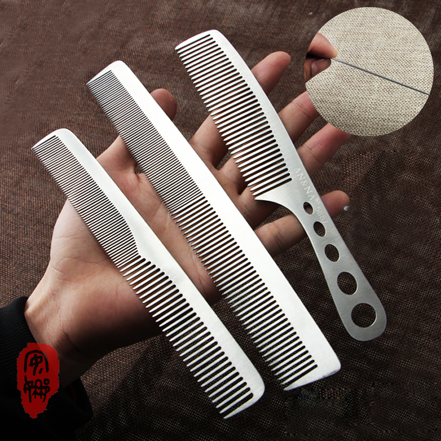 Professional Stainless Steel Hairdressing Comb In 5 Design To Choose, Super Thin Steel Barber Haircut Comb In Durable Material