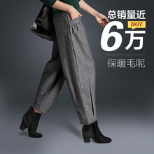 Woolen Pants Wide Leg Pants 2019 Autumn and Winter High Waist Harem Pa