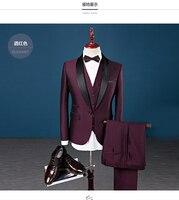 Последние конструкции пальто брюки бордовый шалевыми лацканами мужской костюм Slim Fit 3 предмета смокинг жениха пользовательские Костюмы Про