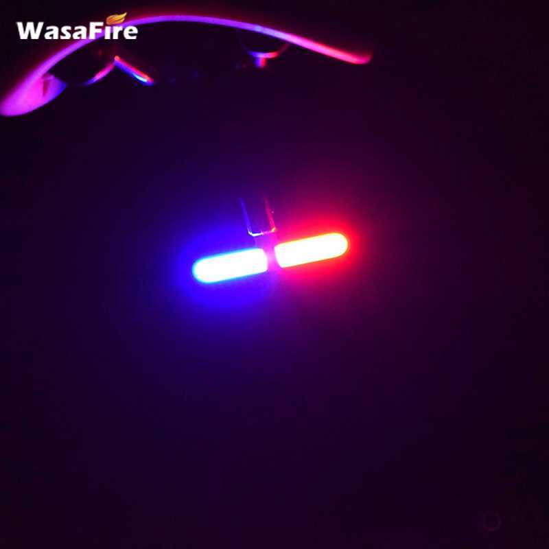 WasaFire Bicycle Rear Lamp COB LED Lamp Red and Blue Bike Light Police LED Red BlueTaillight USB Rechargeable Bicycle Tail Lamp