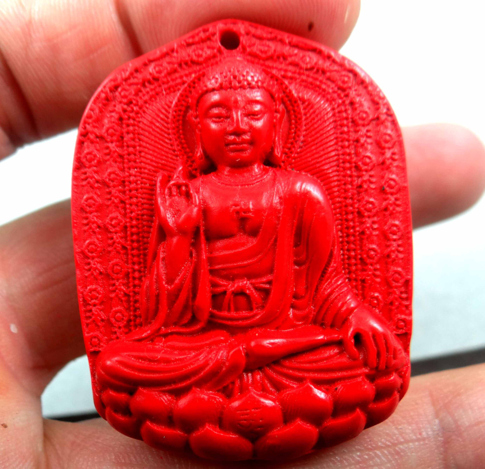 China Red Organic Cinnabar carve Avalokitesvara pendant necklace Making jewelry