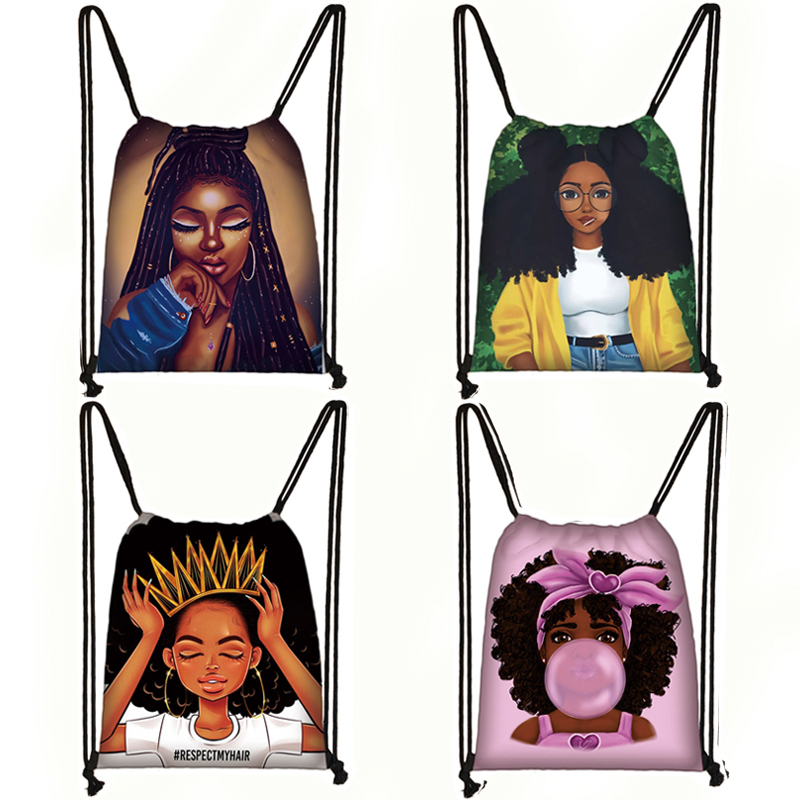 Afro Girls Print Drawstring Bag Women Travel Bag Teenager Brown Girl Backpack Fashion Storage Bags