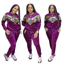 Laipelar women casual tracksuit sequin patchwork two piece set luxury velvet nightclub party 2 outfits for