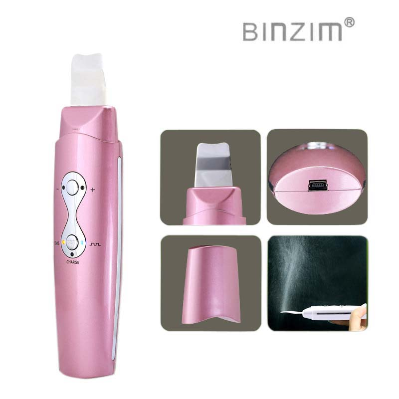 New designed Ultrasonic Skin Scrubber Facial Cleanser Acne Removal Exfoliator Skin Peeling Massager Withe/pink color