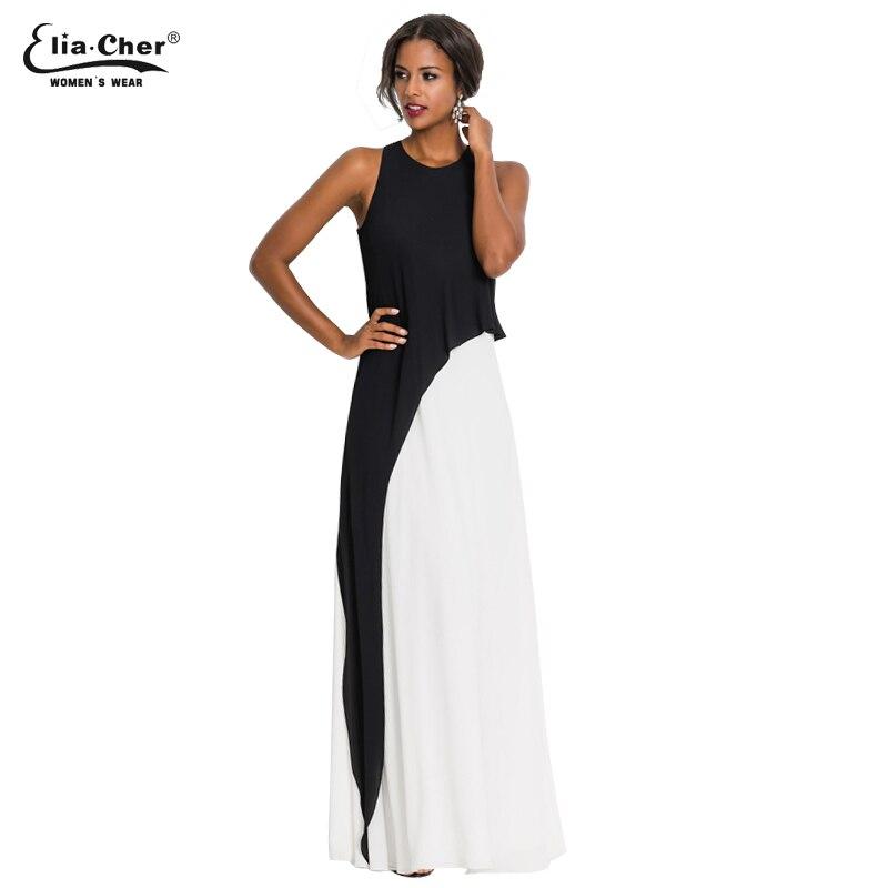 Новый Для женщин Краткое Черный и белый с пышной юбкой, без рукавов, платье на бретелях Вечерние вечернее Элегантное летнее платье Maxi dress ...