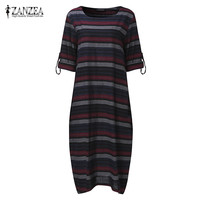 Plus Size 2017 ZANZEA Autumn Fashion Women Striped O Neck Long Sleeve Casual Loose Kaftan Party