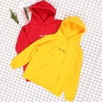 OH YES Letter Hoodies Women Harajuku Fleece Autumn Winter Long Sleeve Sweatshirt Women Sweat Femme