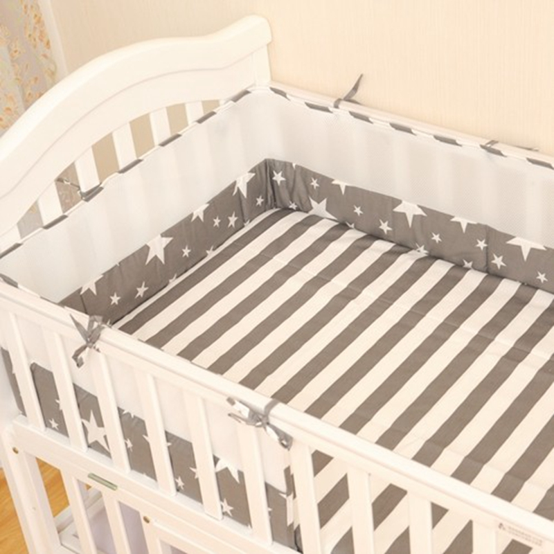100%Cotton Grey Star Baby Bumper Bedding Sets Infant Bed Bumpers Protector Baby Cribs Bumpers Around Guardrail Baby Products 1pc