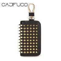 CAJIFUCO Fashion Stud Key Wallet Women Genuine Leather Coin Purse Car Key Holder Men Key Organizer Key chain Rivet Housekeeper