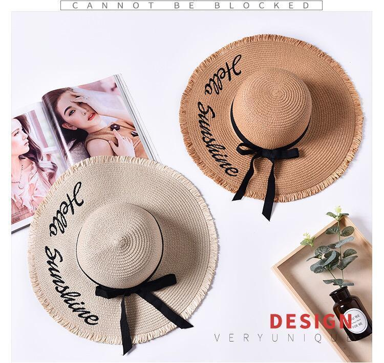 HTB13kR4JXuWBuNjSszbq6AS7FXap - Handmade Weave letter Sun Hats For Women Black Ribbon Lace Up Large Brim Straw Hat Outdoor Beach hat Summer Caps Chapeu Feminino