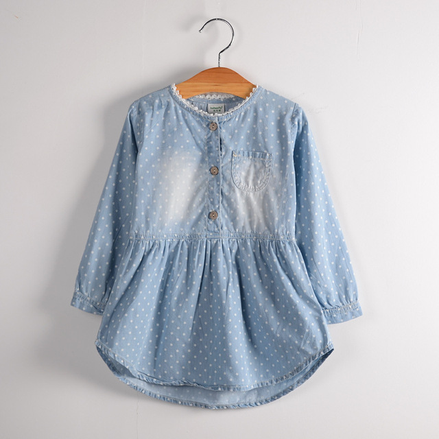 2016 New Children Baby Girls Jeans Drees Cotton Polka Dot Shirt Dress Light  blue SAS-9211 8e9a74620