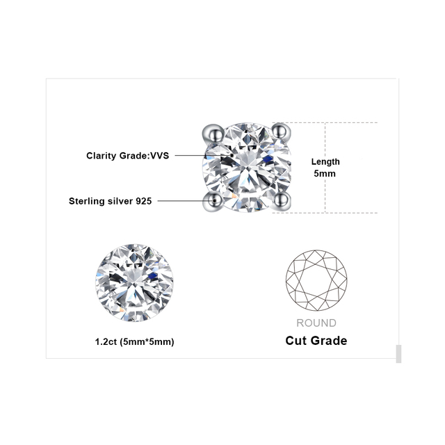 Round 1ct Pure 925 Sterling Silver Stud Earrings For Women Gift Fashion Jewelry For Women