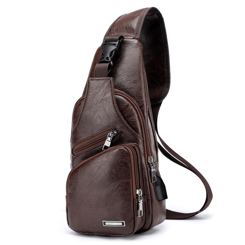 2018 neue männer Umhängetaschen Männer USB Brust Taschen Designer umhängetasche Leder Schulter Taschen Diagonal Paket Zurück Pack reise