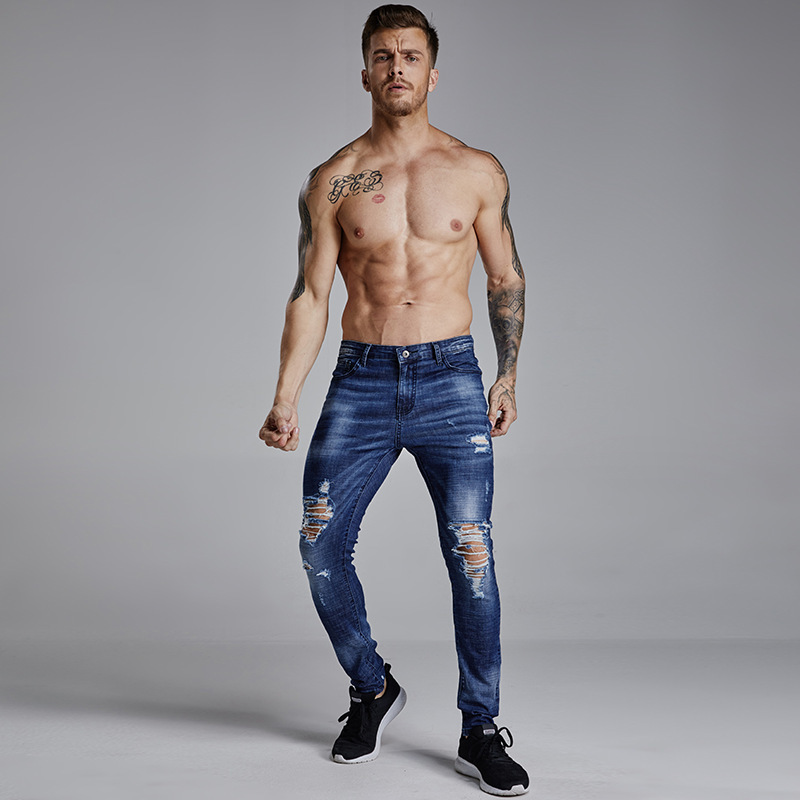 2018 New Mens Elastic Force Leisure Cowboy Trousers Skinny-jeans-men Straight Strech Jeans Fabric Jean Homme Uomo Clothing ...
