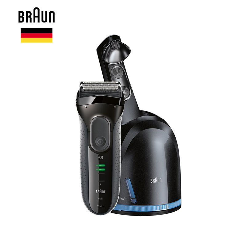 Braun Safety Electric Shaver Razor Series 3 3050cc for Men Beard shaving razors Blade Rechargeable Automatic Cleaning Center braun series 3 electric shaver 3080s electric razor blades shaving machine rechargeable electric shaver for men washable