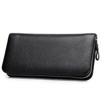 New Men Casual Wallet Man Zipper Purse Clutch Bag Brand Cow Leather Wallet Long Design Business