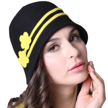Free Shipping Women Winter Hats Felt  Hats Cloche Hat Black Natural 100% Wool With Shawl Set Women Scarf