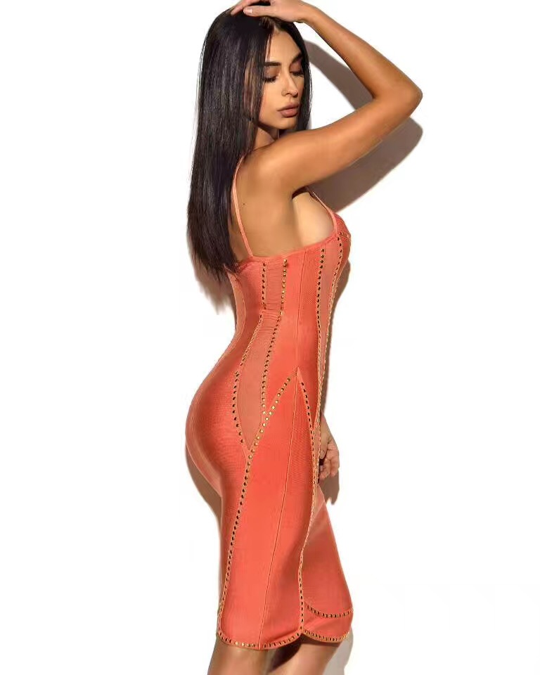 Partie Bandage Courroie Robes De Dos Nouvelles Orange Soirée D'été 2017 rose Abricot Évider Femmes Spaghetti Beige Halter Nu Beige Robe 7RTxR0nY