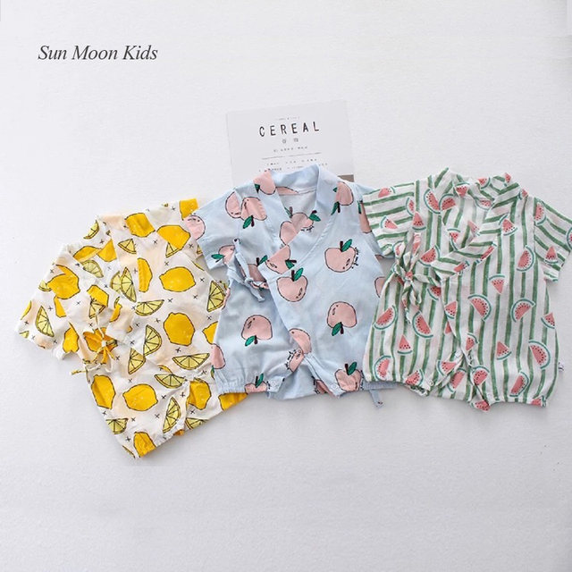 6780e78c04d5 2018 Summer Floral Japanese Baby Clothes Casual Short Sleeve Newborn ...