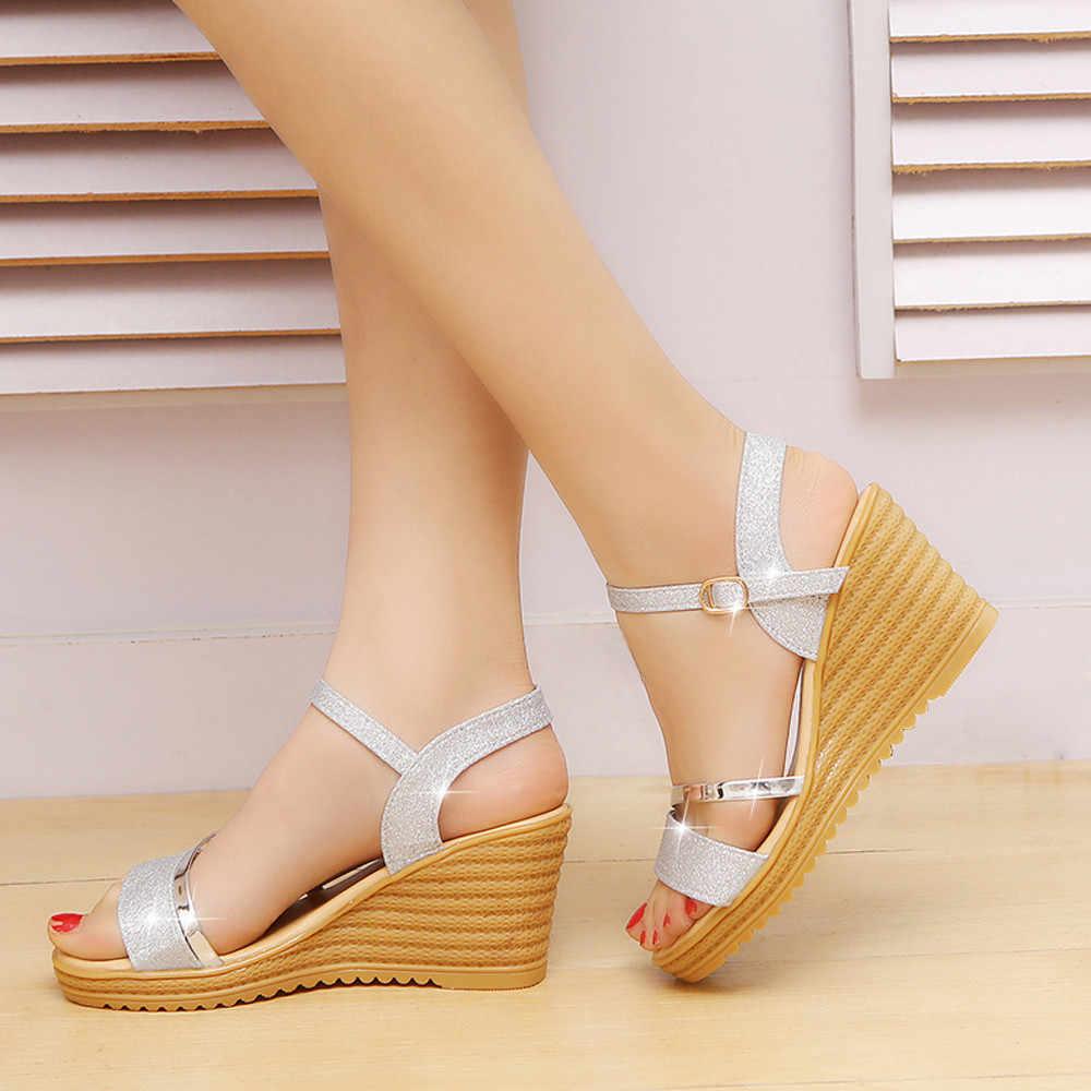Phụ Nữ Mũi Tròn Chống Trơn Trượt Cương Cao Gót Khóa Kim Sa Lấp Lánh Giày Sandal Nữ Giày Sandal Cao Gót Giày Dép Cao Cấp giày Cao Gót